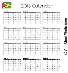 2016 Calendar with the Flag of Guyana - A 2016 Calendar with...