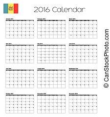 2016 Calendar with the Flag of Moldova - A 2016 Calendar...