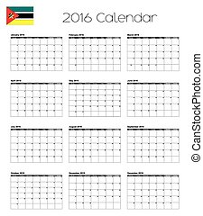 2016 Calendar with the Flag of Mozambique - A 2016 Calendar...