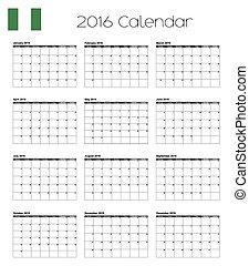 2016 Calendar with the Flag of Nigeria - A 2016 Calendar...
