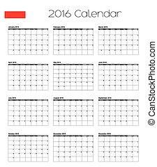 2016 Calendar with the Flag of Poland - A 2016 Calendar with...