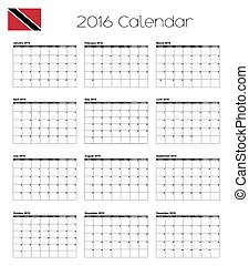 2016 Calendar with the Flag of Trinidad and Tobago - A 2016...