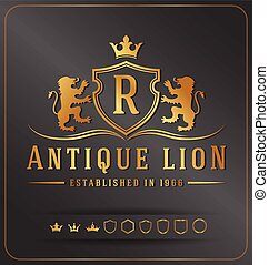 Luxurious Lions Royal Crest Vector Design