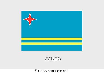 Illustration of the flag, with name, of the country of Aruba...