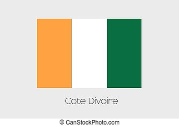 Illustration of the flag, with name, of the country of Cote...