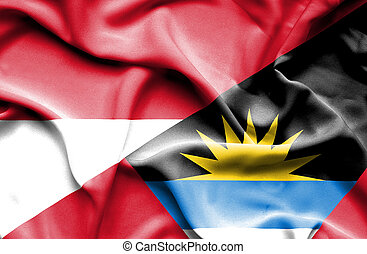 Waving flag of Antigua and Barbuda and Monaco