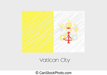 Scribbled Flag Illustration of the country of Vatican - A...