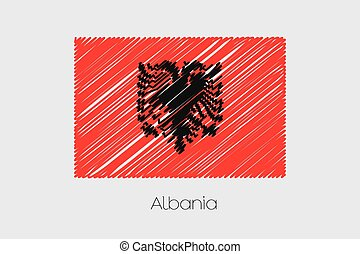 Scribbled Flag Illustration of the country of Albania - A...