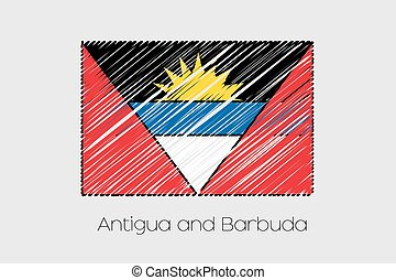 Scribbled Flag Illustration of the country of Antigua and...