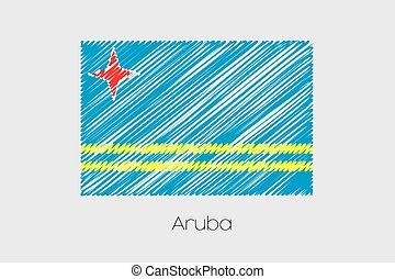 Scribbled Flag Illustration of the country of Aruba - A...