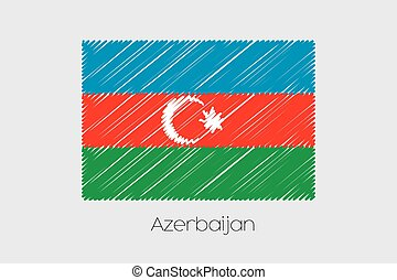 Scribbled Flag Illustration of the country of Azerbaijan - A...