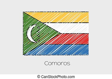 Scribbled Flag Illustration of the country of Comoros - A...
