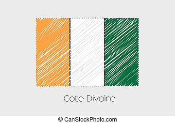 Scribbled Flag Illustration of the country of Cote DIvoire -...