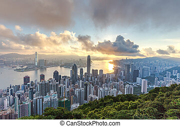 HONG KONG - AUGUST 03, 2015: The peak Hong Kong skyline...