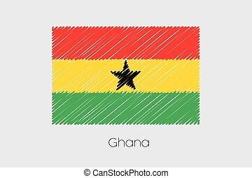 Scribbled Flag Illustration of the country of Ghana - A...