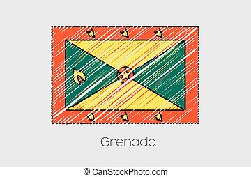 Scribbled Flag Illustration of the country of Grenada - A...