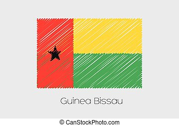 Scribbled Flag Illustration of the country of Guinea Bissau...