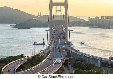 HONG KONG - JULY 31, 2015: Tsing ma bridge Hong Kong...