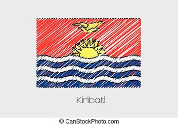 Scribbled Flag Illustration of the country of Kiribati - A...