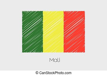 Scribbled Flag Illustration of the country of Mali - A...