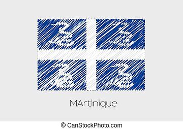 Scribbled Flag Illustration of the country of Martinique - A...