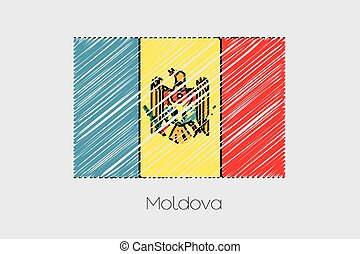 Scribbled Flag Illustration of the country of Moldova - A...