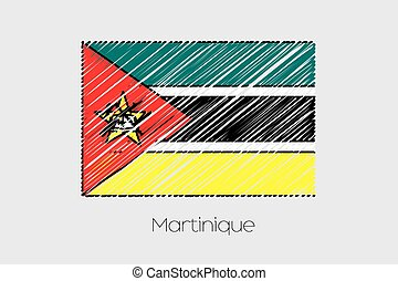 Scribbled Flag Illustration of the country of Mozambique - A...