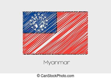 Scribbled Flag Illustration of the country of Myanmar - A...