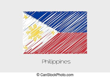 Scribbled Flag Illustration of the country of Philippines -...