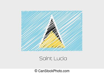 Scribbled Flag Illustration of the country of Saint Lucia -...