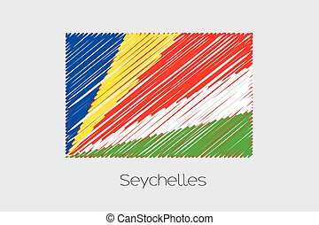 Scribbled Flag Illustration of the country of Seychelles - A...