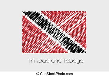 Scribbled Flag Illustration of the country of Trinidad and...