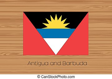 Illustration of a wooden floor with the flag of Antigua and...
