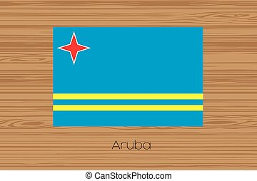 Illustration of a wooden floor with the flag of Aruba - An...