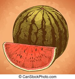 engraving watermelon