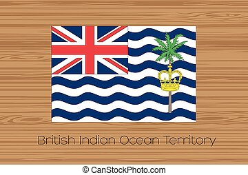 Illustration of a wooden floor with the flag of British Indian Ocean Territory