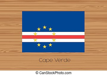 Illustration of a wooden floor with the flag of Cape Verde