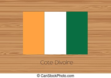 Illustration of a wooden floor with the flag of Cote DIvoire...