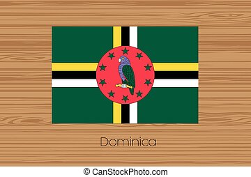 Illustration of a wooden floor with the flag of Dominica -...