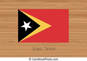 Illustration of a wooden floor with the flag of East Timor -...