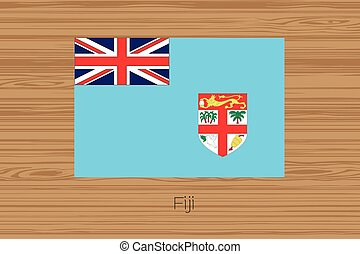 Illustration of a wooden floor with the flag of Fiji - An...