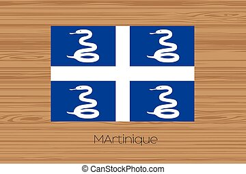 Illustration of a wooden floor with the flag of Martinique -...