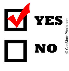 Check mark in yes box - Red check mark in yes box isolated...