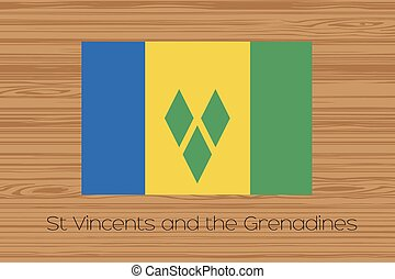Illustration of a wooden floor with the flag of Saint...
