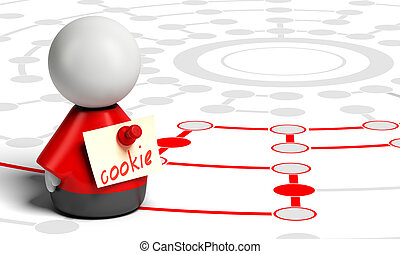 Internet or Web Cookie - One red character with a yellow...