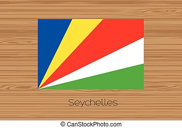 Illustration of a wooden floor with the flag of Seychelles -...