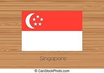 Illustration of a wooden floor with the flag of Singapore