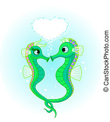 Seahorses in love - Vector Illustrations of two Seahorses in...