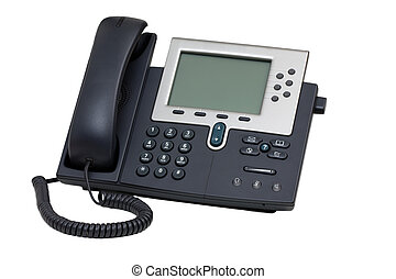 Business Phone - Business Voip phone isolated over white...