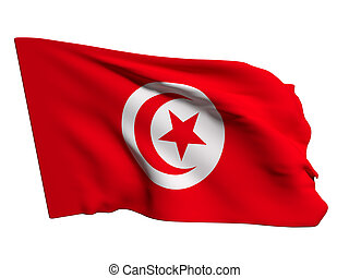 Tunisia flag - 3d rendering of a Tunisia flag waving on a...